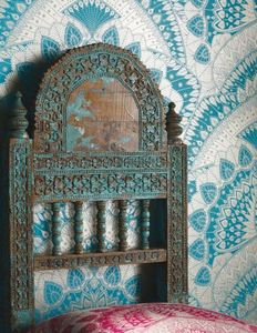 MATTHEW WILLIAMSON - turquoise blue & gold azari  - Carta Da Parati