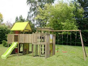 NAT ET CHOC - aire de jeu géante en bois avec 2 tours et 1 porti - Area Giochi