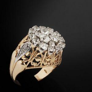Expertissim - bague en or ornée sertie de diamants taille ancien - Anello