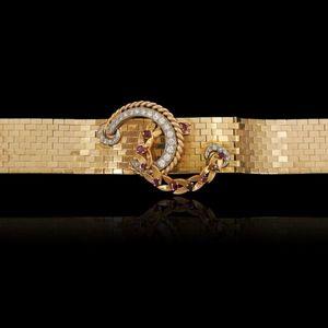 Expertissim - bracelet manchette or jaune (18k) et platine - Braccialetto
