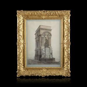 Expertissim - louis visconti. vue de la fontaine molière - Disegno A Inchiostro