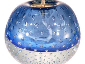 LE SOUFFLE DE VERRE - lampe à huile en verre soufflé middle bleu - Lampada A Olio
