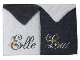 SIRETEX - SENSEI - coffret 4 pièces 2 serviettes blanc/anthracite + 2 - Guanto Da Bagno