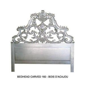 DECO PRIVE - tete de lit baroque en bois argente 160 cm modele - Testiera Letto
