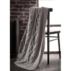 FAYE - plaid tricot gris clair - Sacco Porta Pane