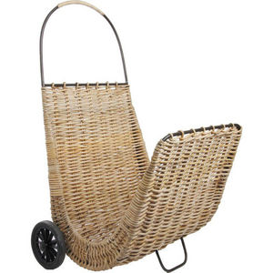 Aubry-Gaspard - chariot à bûches sur roulettes en poelet - Portaceppi