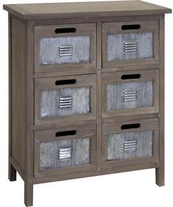 Aubry-Gaspard - commode 6 tiroirs en pin et métal 60x33x73cm - Cassettiera