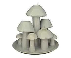 Demeure et Jardin - champignons sur plateau céramique blanche gm - Portacandela