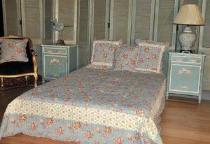 Demeure et Jardin - boutis bleu lit king size - Copriletto Trapuntato