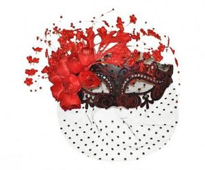 Demeure et Jardin - masque loup vénitien rouge à voilette et fleurs - Maschera