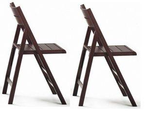 WHITE LABEL - lot de 2 chaises pliante robert wenge - Sedia Pieghevole