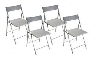 WHITE LABEL - belfort lot de 4 chaises pliantes argent - Sedia Pieghevole