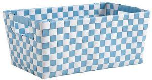 Aubry-Gaspard - panier de rangement damier bleu et blanc - Cestino Contenitore