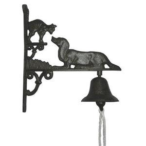 Aubry-Gaspard - cloche de jardin chien et chat en fonte - Campanella Da Esterno
