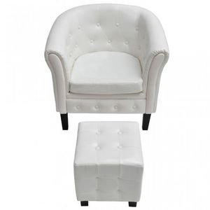 WHITE LABEL - fauteuil avec pouf simili-cuir blanc - Poltrona E Pouf
