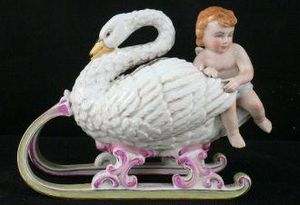 Demeure et Jardin - cygne avec angelot - Figurina