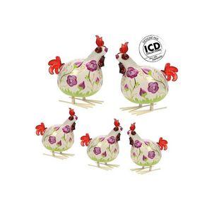 ICD COLLECTIONS - coq valerie formé fleur violette - Animali Della Fattoria