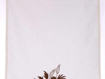 Coquecigrues - brise-bise fleurs marron - Tenda Alla Tirolese