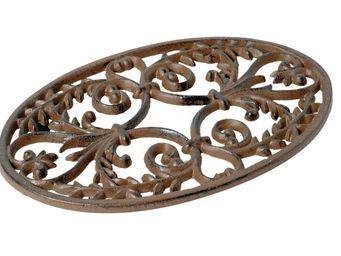 Antic Line Creations - dessous de plat ovale feuille d'olivier rouille - Sottopentola