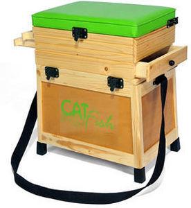 Sauvegarde58 - siège pêche et casier en bois (b3t) 38.5x27.5x47cm - Cestino Da Pesca