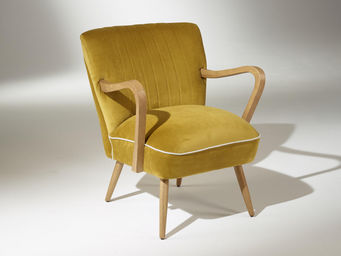 Robin des bois - fauteuil sixty jaune moutarde - Poltrona Imbottita