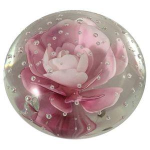 CHEMIN DE CAMPAGNE - presse-papier sulfure rose en verre 5 cm - Fermacarte