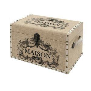 CHEMIN DE CAMPAGNE - coffre malle de rangement bois toile de jute maiso - Baule