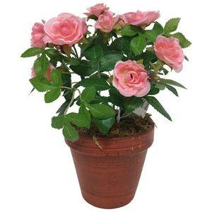 CHEMIN DE CAMPAGNE - grand rosier artificiel rose 23 cm - Fiore Artificiale