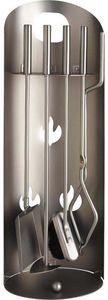 Aubry-Gaspard - serviteur de cheminée design 4 accessoires - Porta Attrezzi Per Camino