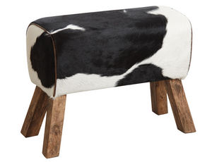 Aubry-Gaspard - tabouret en peau de vache - Pouf