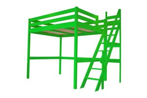 ABC MEUBLES - abc meubles - lit mezzanine sylvia avec escalier de meunier bois vert 160x200 - Letto A Soppalco
