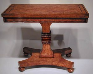 BAGGOTT CHURCH STREET - regency burr ash & ebony strung games table - Tavolo Da Gioco