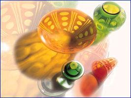 E & M Glass - scraffito - Coppa Da Frutta