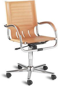 Jsi - managers leather faced chromus chair - Sedia Ufficio