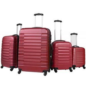 WHITE LABEL - lot de 4 valises bagage abs bordeaux - Trolley / Valigia Con Ruote
