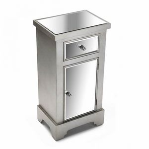 WHITE LABEL - commode marsala 1 tiroir 1 porte design argenté et - Vasetto Da Marmellata