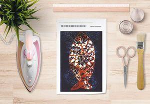 la Magie dans l'Image - papier transfert poisson batik bleu - Trasferibile