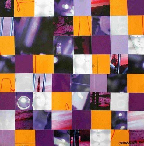 JOHANNA L COLLAGES - Quadro contemporaneo-JOHANNA L COLLAGES-Paris purple sunset