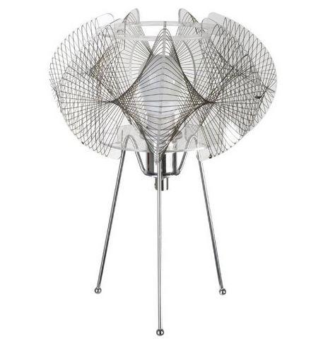 La Chaise Longue - Lampada da tavolo-La Chaise Longue-Lampe filaire mandala en métal chromé 22x31cm