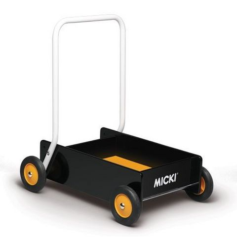 Micki Leksaker - Carrellino di marcia-Micki Leksaker-BABY WALKER, BLACK/ORANGE